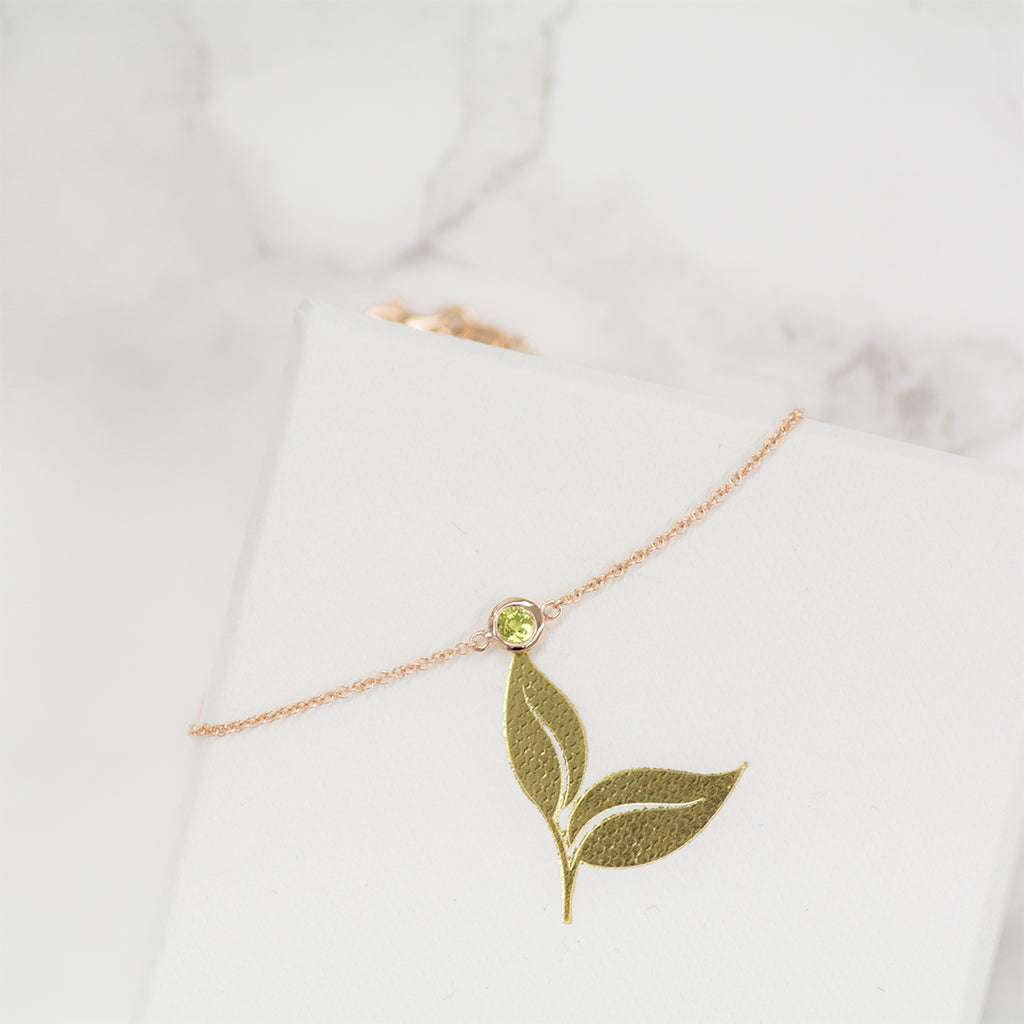 Solitaire Peridot Necklace Necklace - A Gilded Leaf jewelry