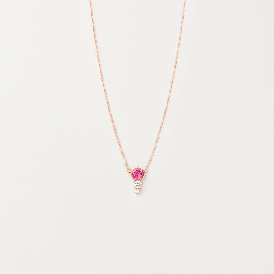 Graduated Pink Tourmaline and Sapphire Necklace