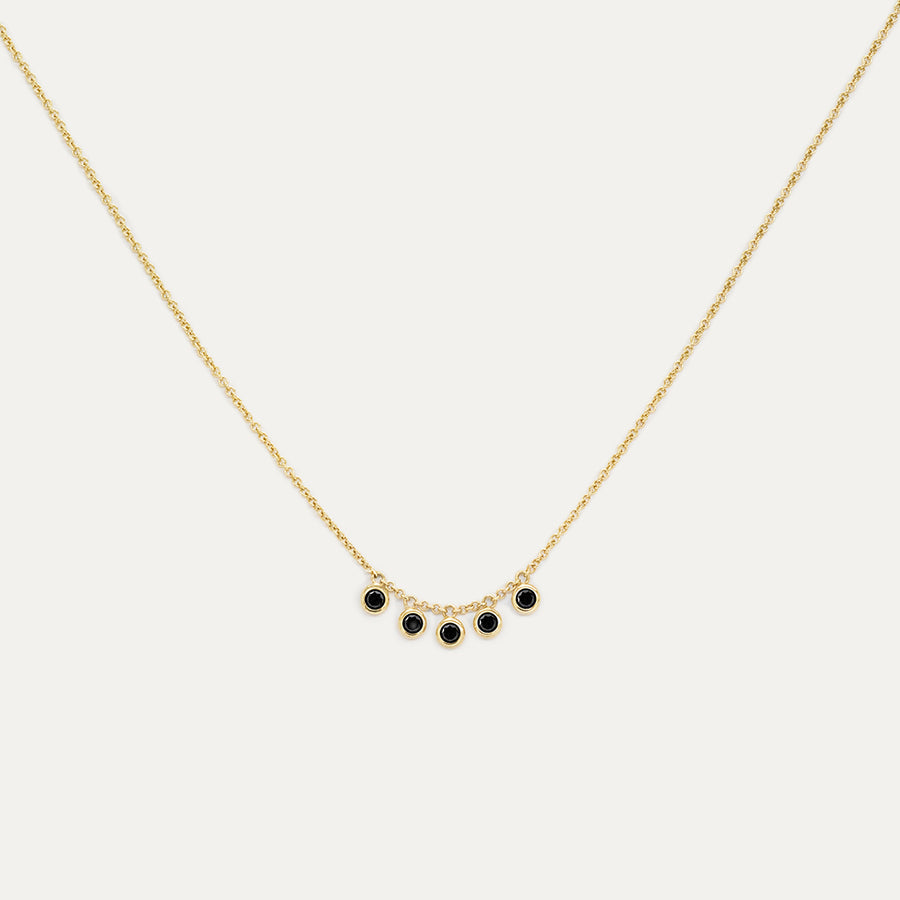 Five Bezel Black Diamond Necklace Necklace - A Gilded Leaf jewelry