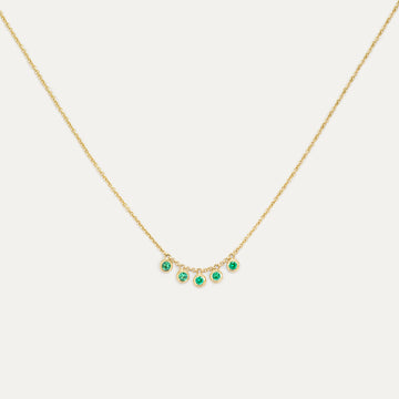 Five Bezel Emerald Necklace Necklace - A Gilded Leaf jewelry