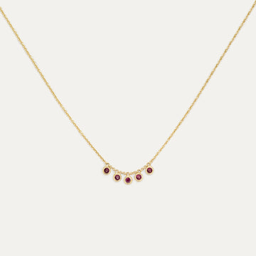 Five Bezel Ruby Necklace Necklace - A Gilded Leaf jewelry