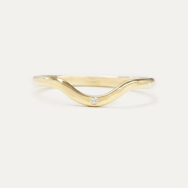 Curved Single Diamond Ring Rings - A Gilded Leaf jewelry