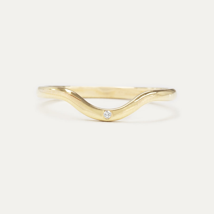 Curved Single Diamond Ring