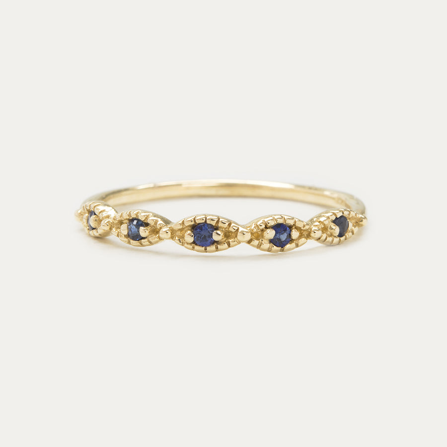 Beaded Sapphire Ring Rings - A Gilded Leaf jewelry