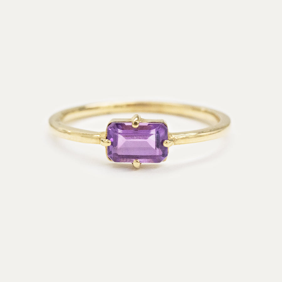 Amethyst Emerald Cut Ring
