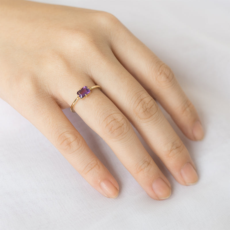 East West Emerald Amethyst Ring