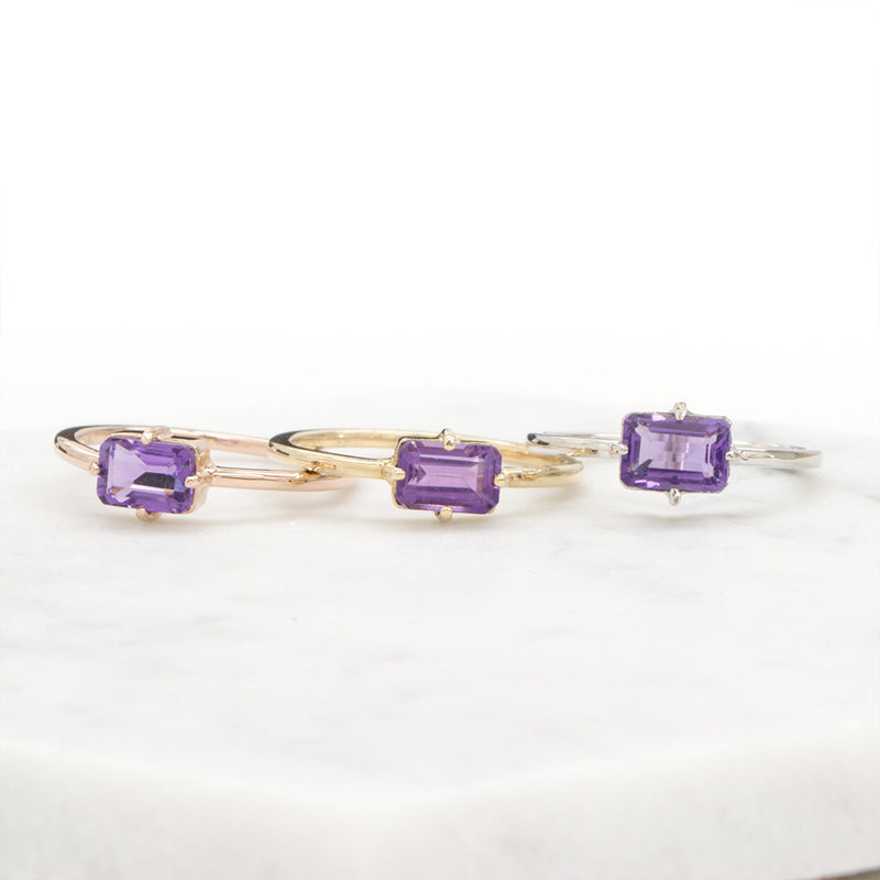 Amethyst Emerald Cut Ring Rings - A Gilded Leaf jewelry