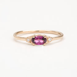 Celestia Rhodolite Garnet Diamond Ring Rings - A Gilded Leaf jewelry