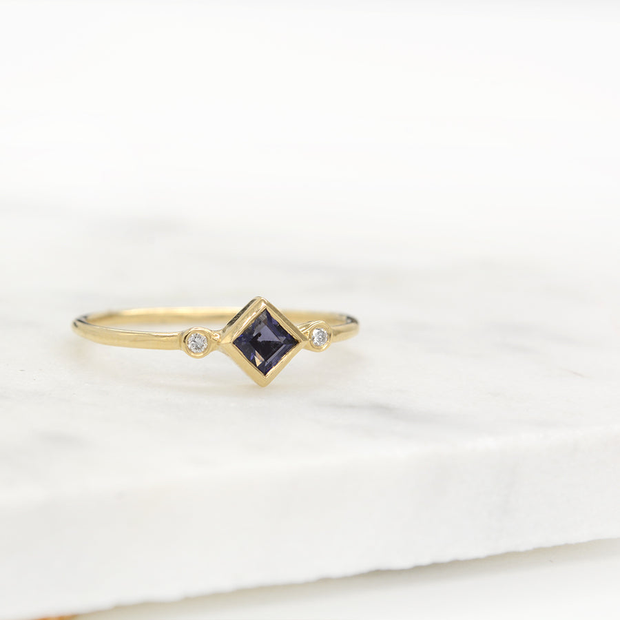 Skyler Iolite Diamond Ring