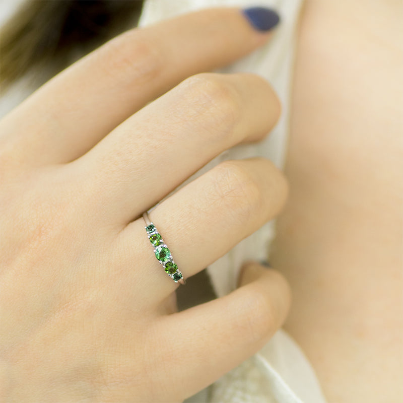 Multi Color Green Tourmaline Ring - Sample