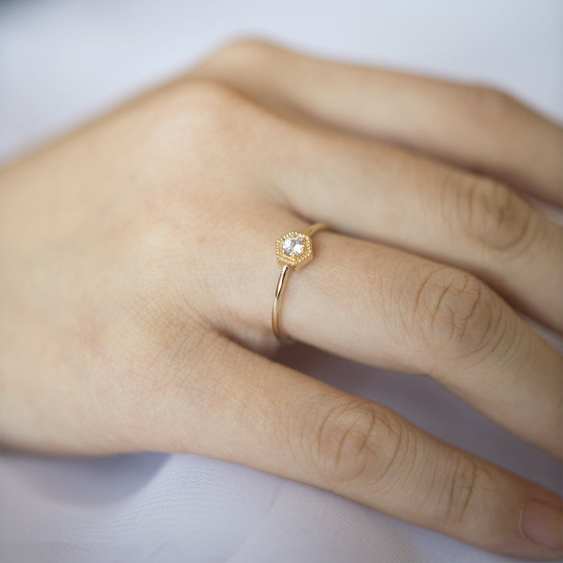 White Sapphire Hexagon Ring - Sample