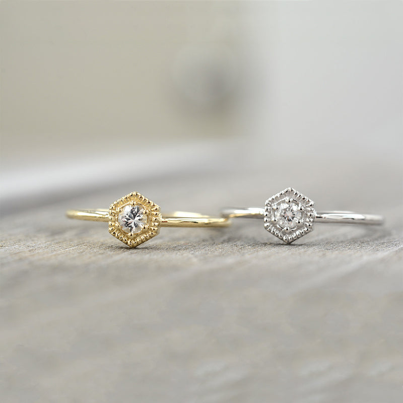 White Sapphire Hexagon Ring Rings - A Gilded Leaf jewelry