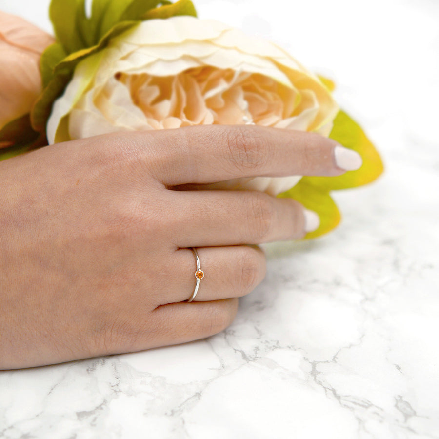 Bezel Set Citrine Ring Rings - A Gilded Leaf jewelry