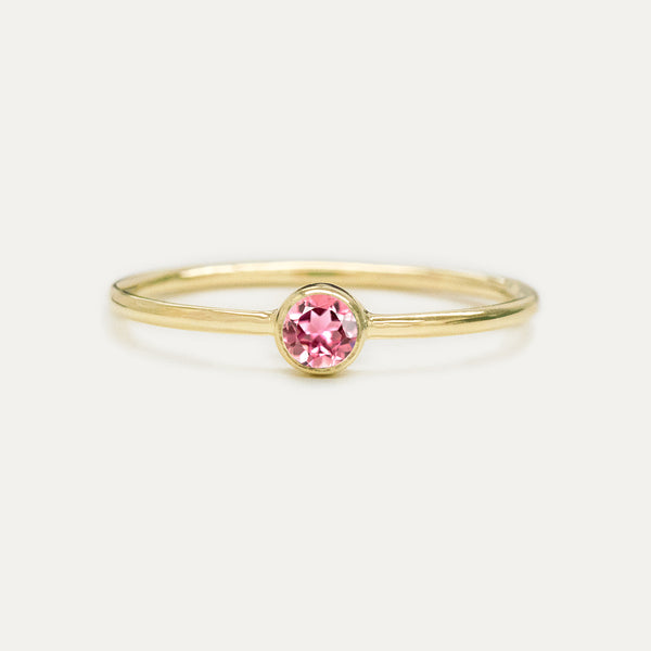 Bezel Set Pink Tourmaline Ring Rings - A Gilded Leaf jewelry