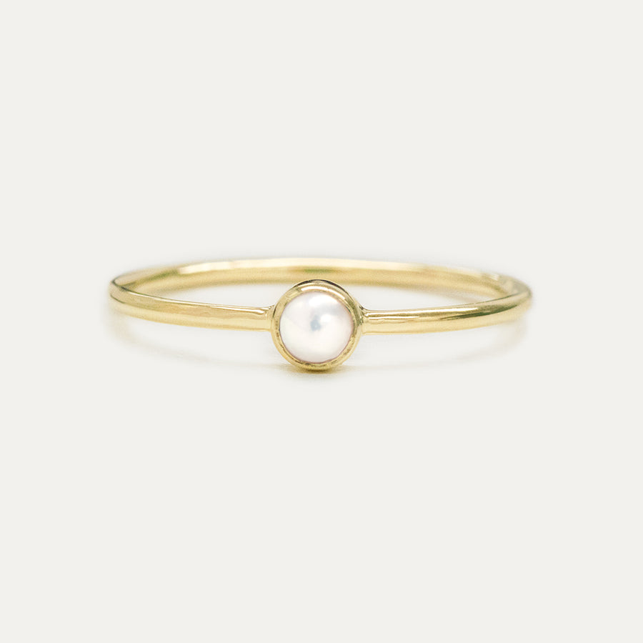 Bezel Set Pearl Ring Rings - A Gilded Leaf jewelry