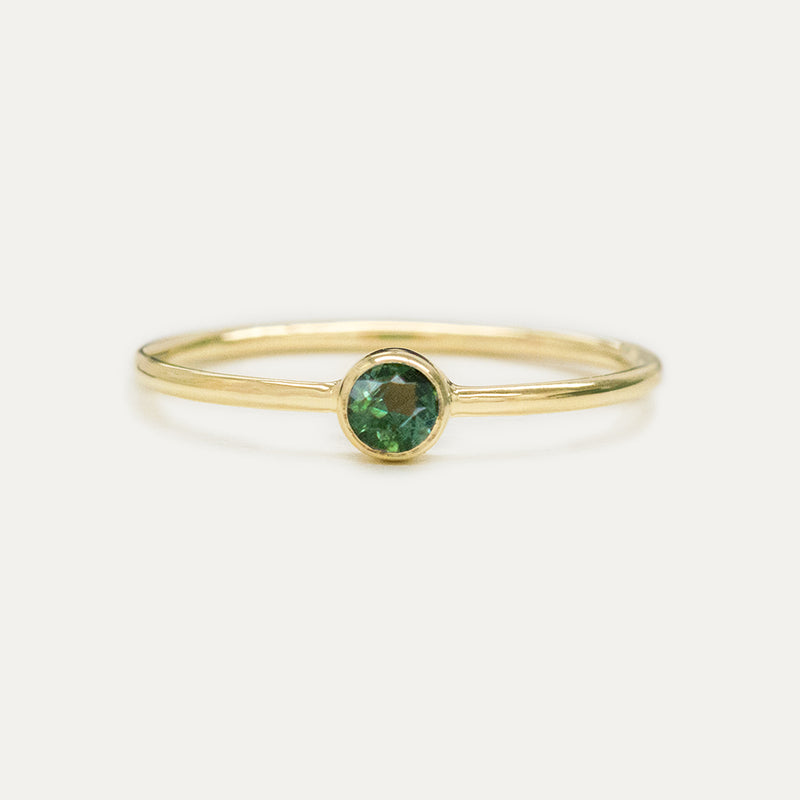 Bezel Set Green Tourmaline Ring Rings - A Gilded Leaf jewelry