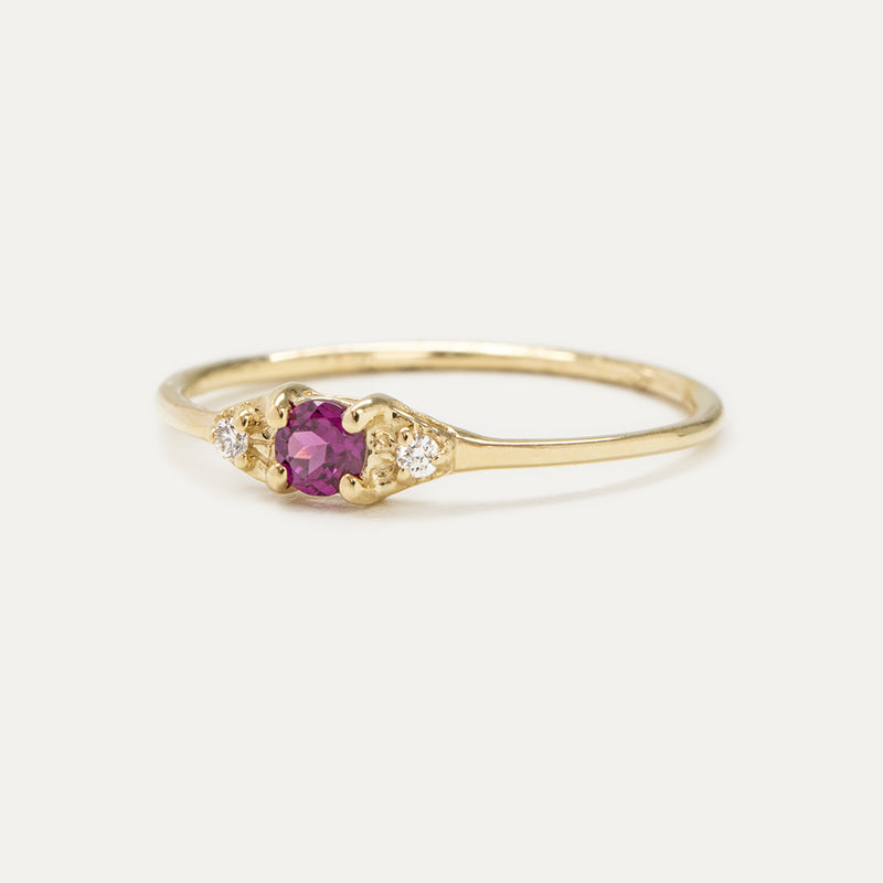Luna Rhodolite Garnet Diamond Ring Rings - A Gilded Leaf jewelry