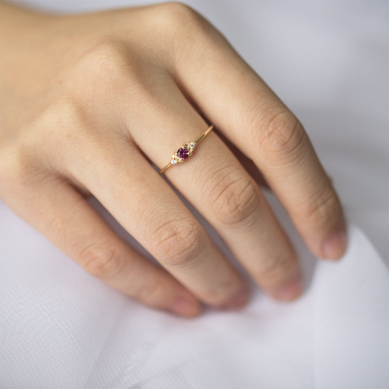 Luna Rhodolite Garnet Diamond Ring - Sample