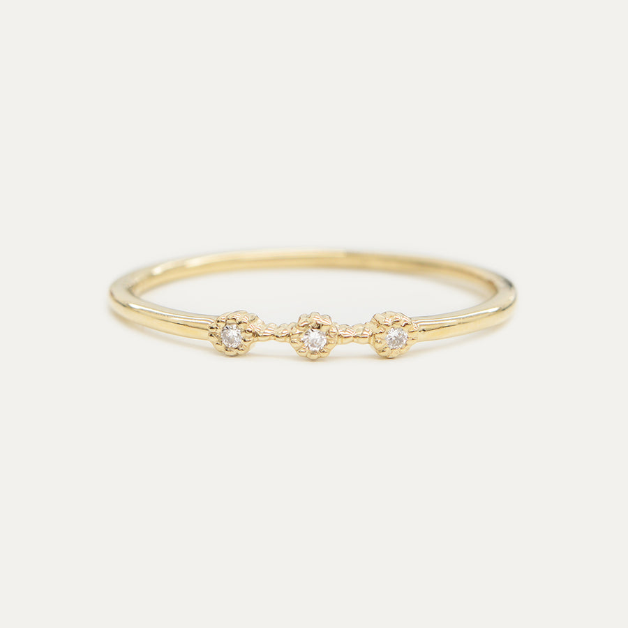 Bohemian Milgrain Three Diamond Ring