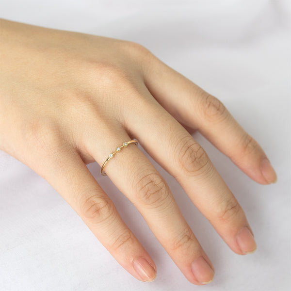 Milgrain Three Diamond Ring