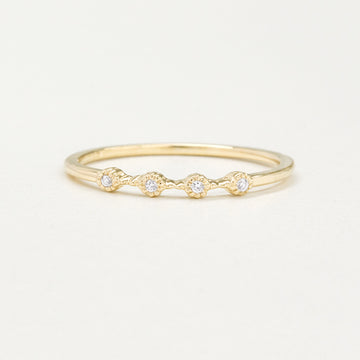 Bohemian Milgrain Four Diamond Ring Rings - A Gilded Leaf jewelry