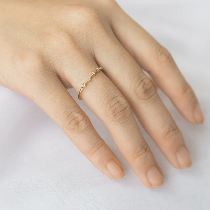Milgrain Four Diamond Ring - Sample