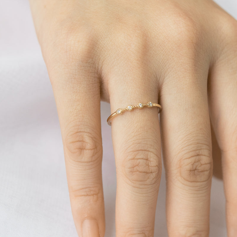 Bohemian Milgrain Four Diamond Ring