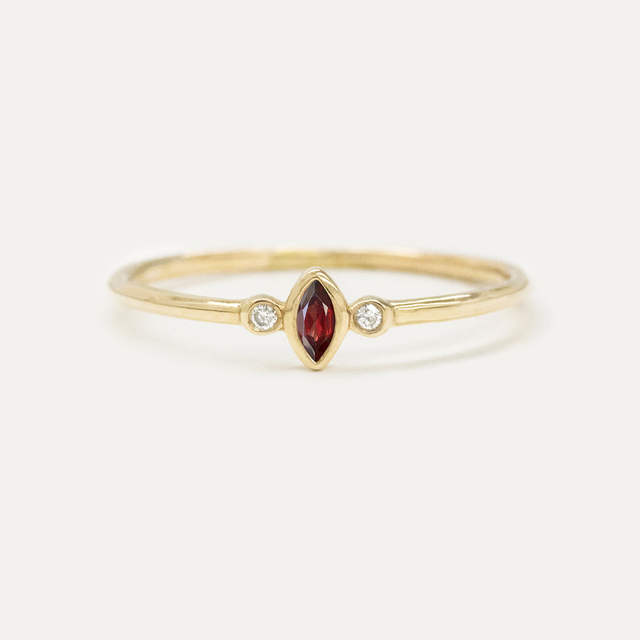"Garnet ""Raspberry"" Marquise Diamond Ring Rings - A Gilded Leaf jewelry"