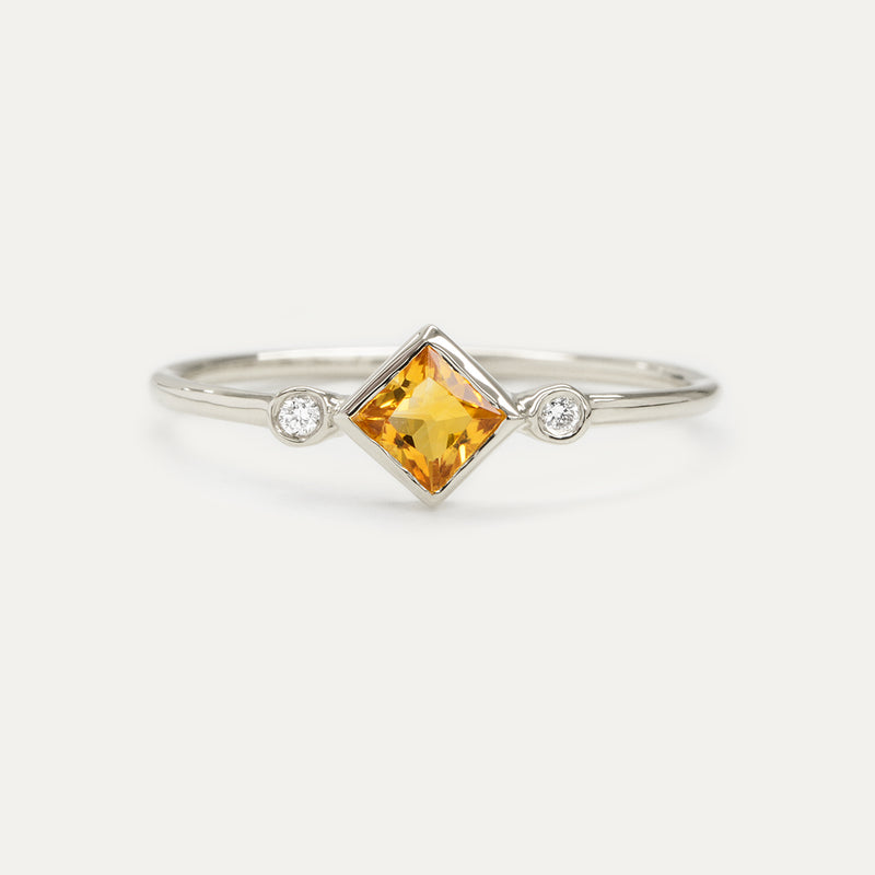 Skyler Citrine Diamond Ring Rings - A Gilded Leaf jewelry