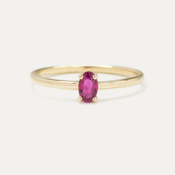 Oval Ruby Solitaire Ring Rings - A Gilded Leaf jewelry