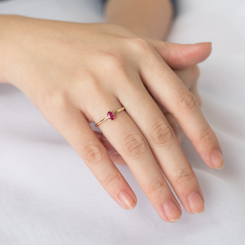 Poppy Oval Ruby Solitaire Ring - Sample