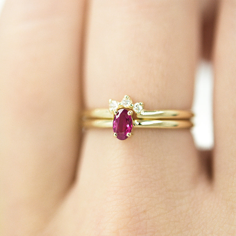 Oval Ruby Crown Ring Set Rings - A Gilded Leaf jewelry