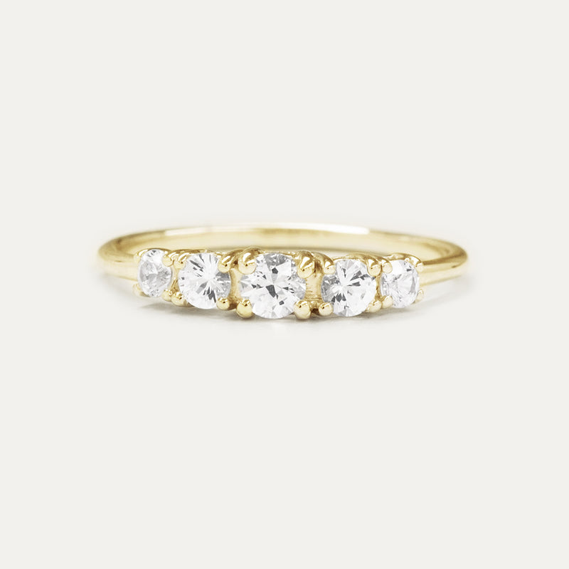 White Sapphire Tapered Wedding Ring Rings - A Gilded Leaf jewelry