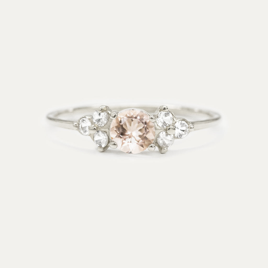 Morganite White Sapphire Cluster Ring Rings - A Gilded Leaf jewelry