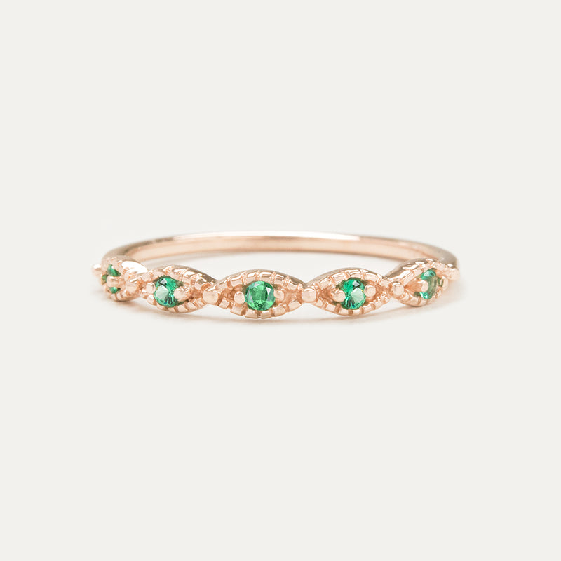 Beaded Emerald Ring Rings - A Gilded Leaf jewelry