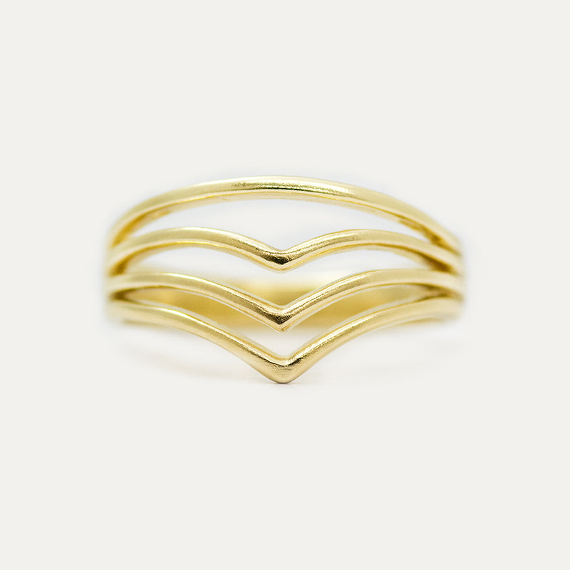 Four Stacked V Wide Ring Rings - A Gilded Leaf jewelry