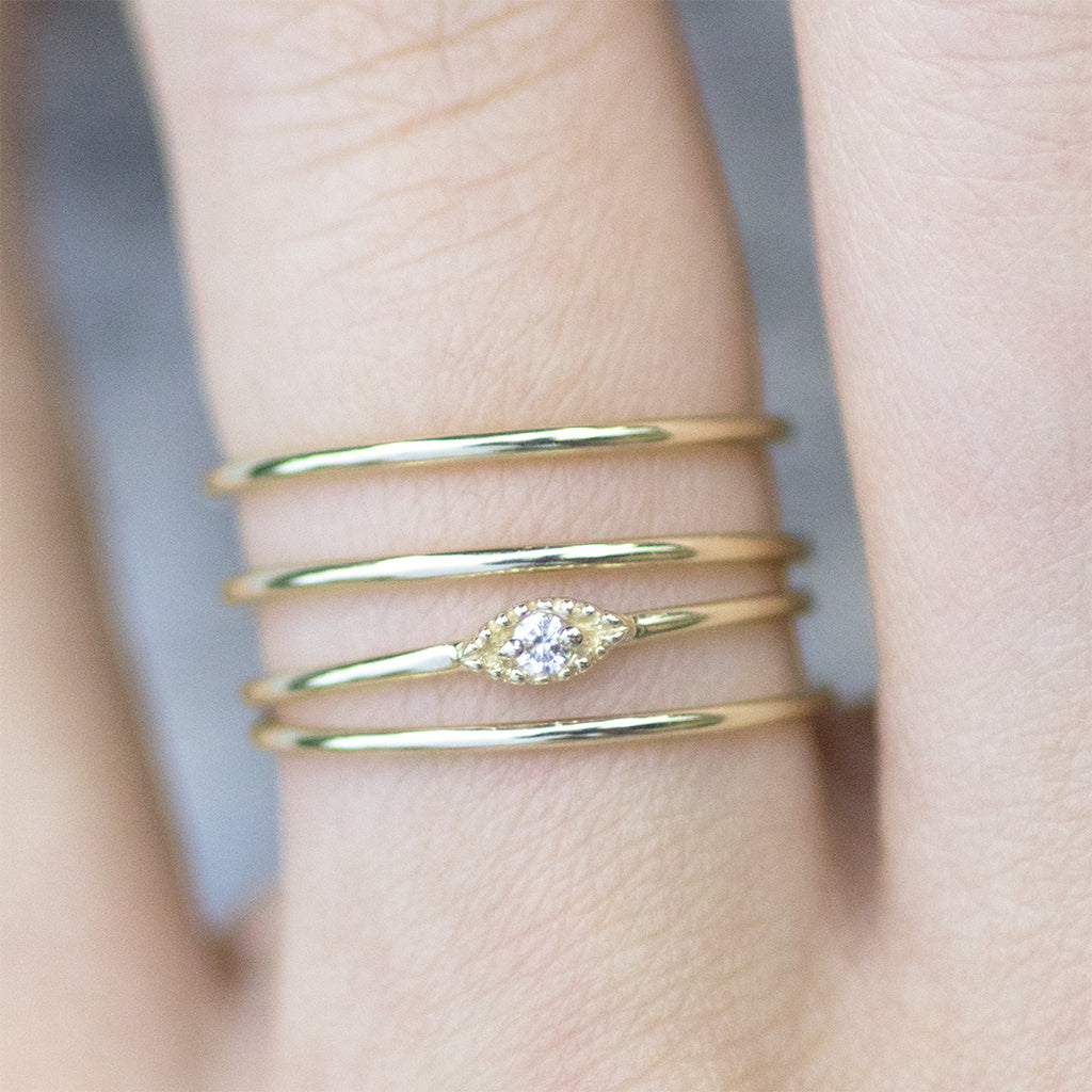 Evil Eye Diamond Minimal Ring Rings - A Gilded Leaf jewelry