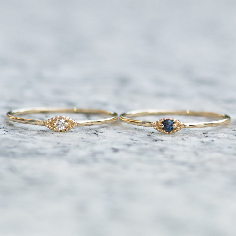 Evil Eye Sapphire Minimal Ring Rings - A Gilded Leaf jewelry