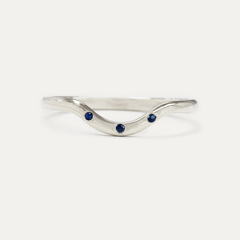Curved Three Sapphire Ring Rings - A Gilded Leaf jewelry