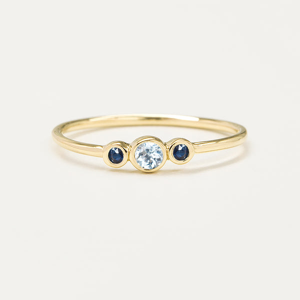 Three Bezel Aquamarine & Blue Sapphire Ring
