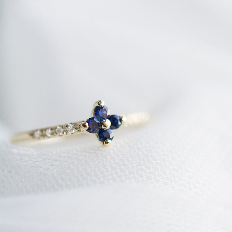 Sapphire Four Leaf Clover Diamond Ring Rings - A Gilded Leaf jewelry