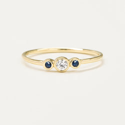 Three Bezel Diamond & Blue Sapphire Ring