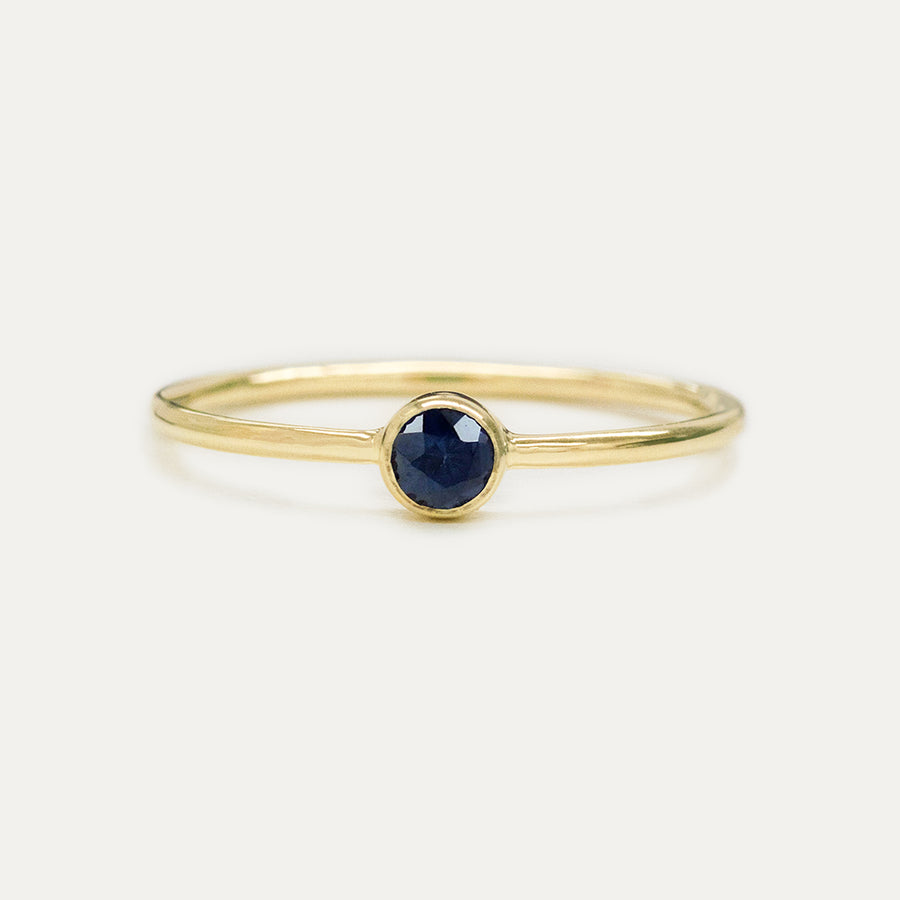 Bezel Set Blue Sapphire Ring Rings - A Gilded Leaf jewelry