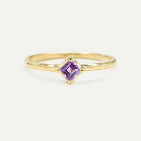 Princess Cut Amethyst Solitaire Ring Rings - A Gilded Leaf jewelry