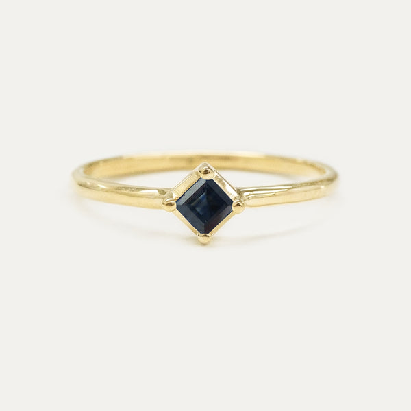 Princess Cut Sapphire Solitaire Ring Rings - A Gilded Leaf jewelry