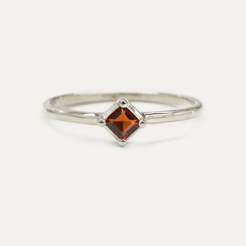 Princess Cut Garnet Solitaire Ring Rings - A Gilded Leaf jewelry