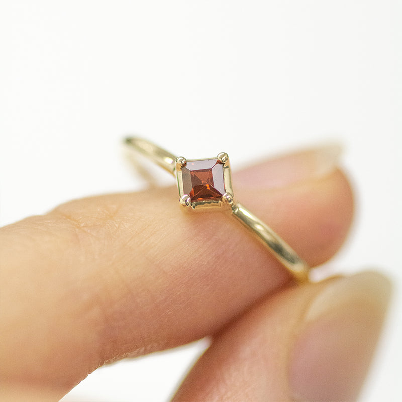 Princess Cut Garnet Solitaire Ring