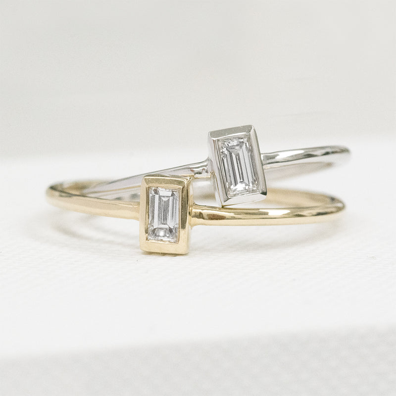 Baguette Diamond Ring Rings - A Gilded Leaf jewelry