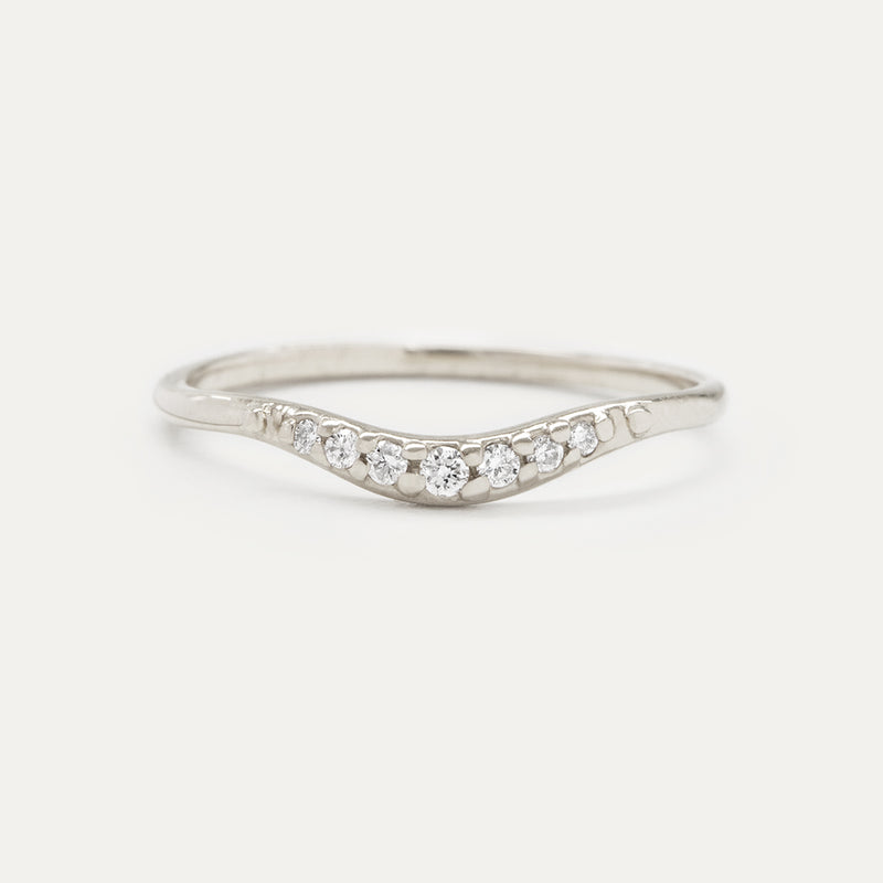 Tapered Curved Diamond Band Rings - A Gilded Leaf jewelry