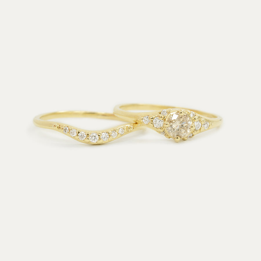 Diamond Cluster Wedding Set Rings - A Gilded Leaf jewelry